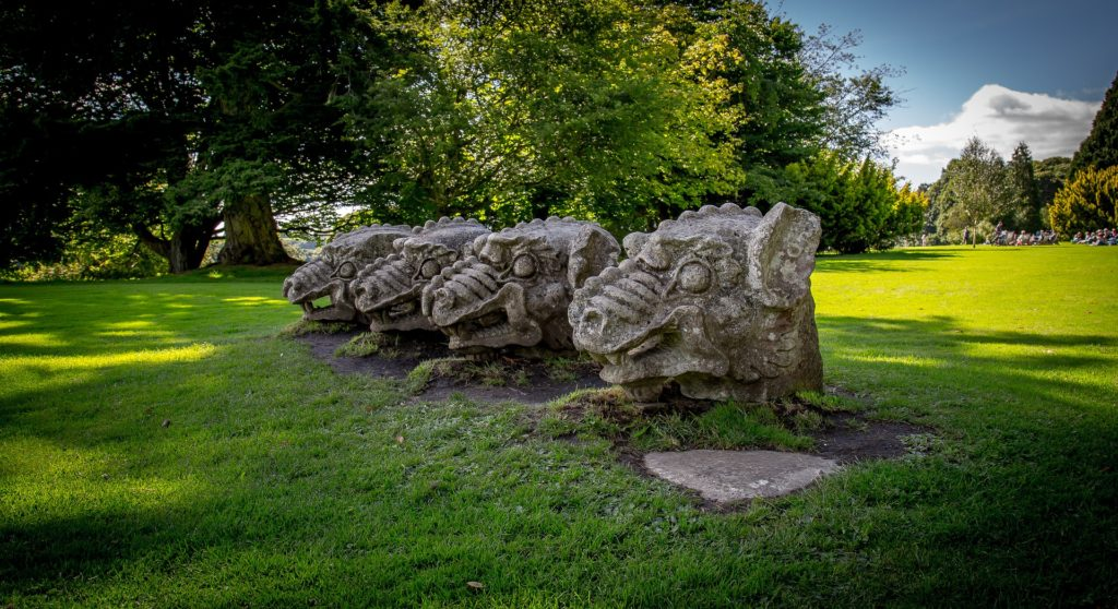 "alt=""Hadrians Wall Area Days out in Northumberland National Trust Wallington Hall Griffin Heads"""