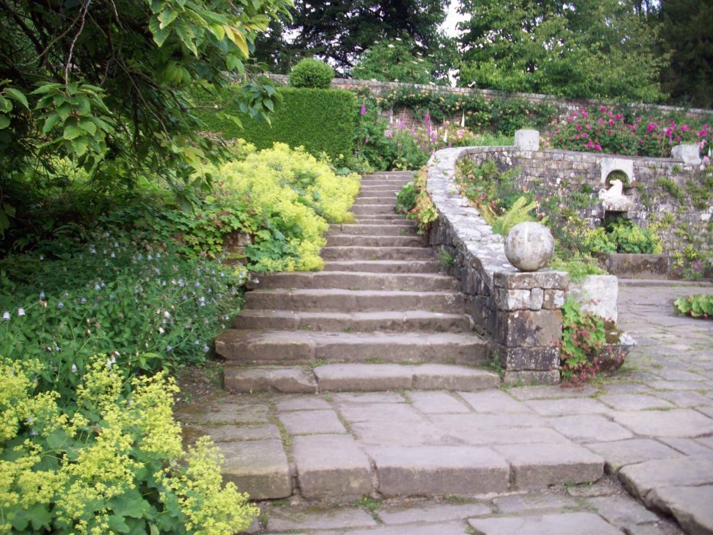 "alt=""Hadrians Wall Area Days out in Northumberland National Trust Wallington Hall Walled Garden Steps"""