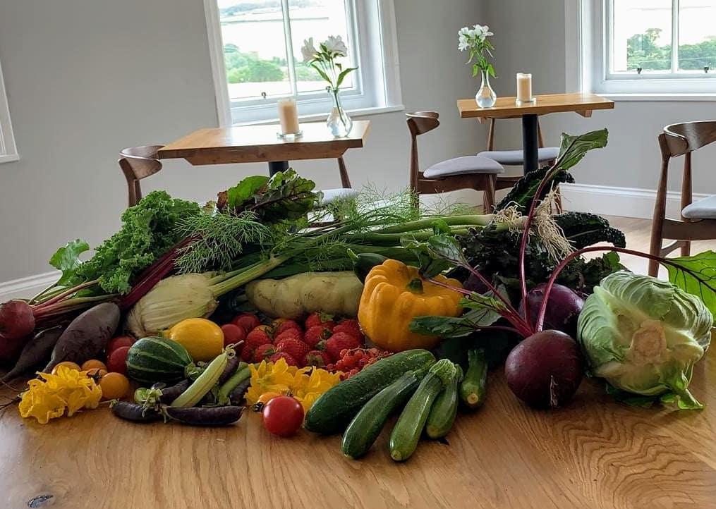 """alt=""""Produced in Norhtumberland fruit and veg homegrown at Restaurant Hjem"""""""