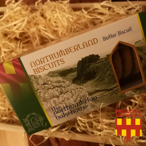 "alt=""Produced in Northumberland box of Northumberland bakehouse biscuits"""