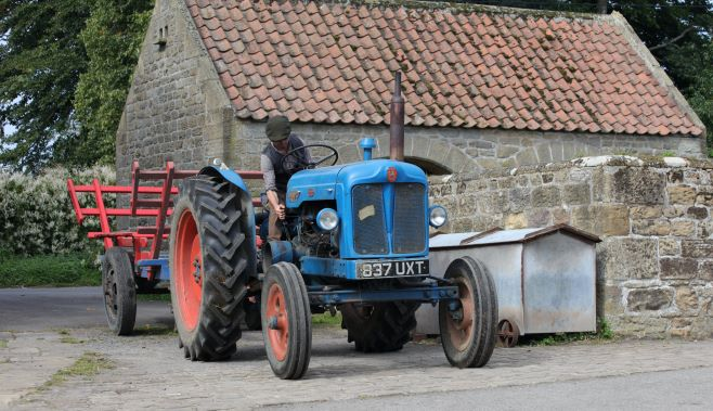 "alt=""old tractor at Beamish"""